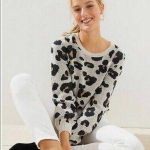 LOFT Jacquard Leopard Print Wool Blend Sweater